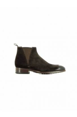 HUGH 11605 U50 BOTTINE HOMME DAIM MARRON PATINE SANTONI